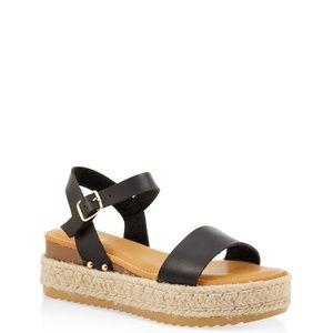 NEW Platform Espadrille Single Band(Black) Sandals